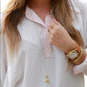 Free People Pink & White Horse Print Tunic Top
